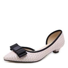 Donna Similpelle Tacco basso Stiletto Punta chiusa con Bowknot scarpe (085175375)