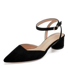 Women's Leatherette Chunky Heel Closed Toe Slingbacks (047192759)