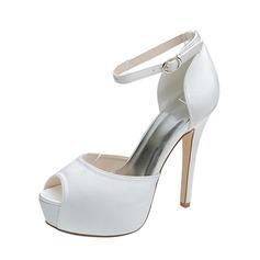 Women's Satin Stiletto Heel Peep Toe Pumps Sandals With Buckle (047053936)