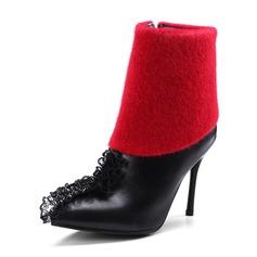 Frauen PU Stöckel Absatz Absatzschuhe Stiefel mit Geraffte Reißverschluss Schuhe (088144291)