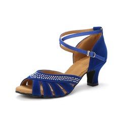 Donna Camoscio Tacchi Sandalo Latino con Listino alla caviglia Scarpe da ballo (053077248)