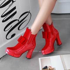 Frauen Lackleder Stämmiger Absatz Stiefel Stiefelette mit Bowknot Pailletten Zweiteiliger Stoff Schuhe (088111875)