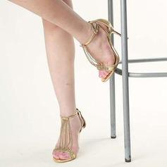 Vrouwen Sprankelende Glitter Stiletto Heel Sandalen Peep Toe met Sprankelende Glitter Vastrijgen Tassel schoenen (087113615)