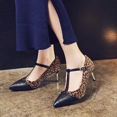 Donna Similpelle Tacco a spillo Stiletto Punta chiusa con Fibbia scarpe (085153081)