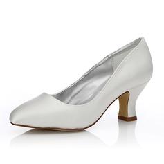 Frauen Satin Stämmiger Absatz Geschlossene Zehe Absatzschuhe Färbbare Schuhe (047088645)