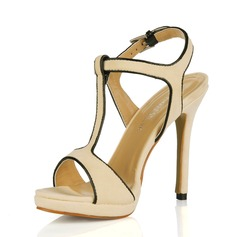 Suede Stiletto Heel Sandalen Slingbacks met Gesp schoenen (087017929)