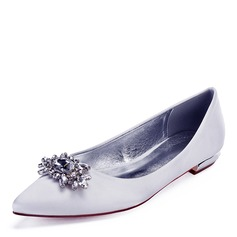 Women's Leatherette Flat Heel Closed Toe Flats With Crystal (047192757)
