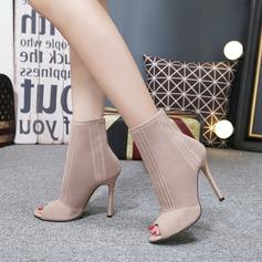 Frauen Stoff Stöckel Absatz Absatzschuhe Stiefel Peep Toe Stiefel-Wadenlang mit Andere Schuhe (088145961)