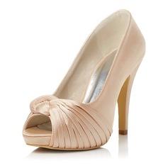 Vrouwen Satijn Stiletto Heel Peep Toe Pumps met Ruches (047047997)