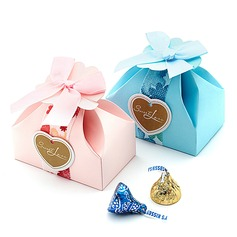 Sweet Love Cuboid Favor Boxes With Bow (Set of 12) (050016122)