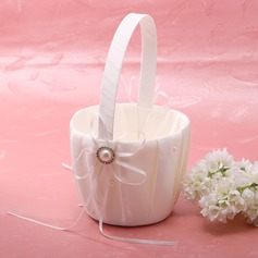 Classic Flower Basket in Satin With Faux Pearl (102018038)