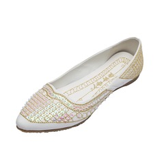 Leatherette Flat Heel Flats Closed Toe With Beading shoes (086056681)