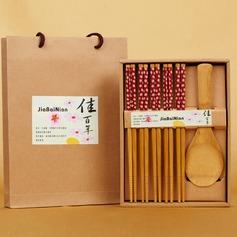 Diseño Floral Bambú Cuchara y Palillos Conjunto (051039213)