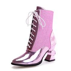 Женщины кожа Устойчивый каблук Полусапоги обувь (088091713)