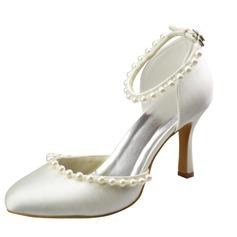Frauen Satin Stöckel Absatz Geschlossene Zehe Absatzschuhe mit Schnalle Nachahmungen von Perlen (047065625)
