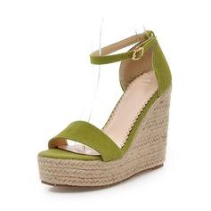 Mokkanahka Wedge heel Sandaalit jossa Solki kengät (087063377)