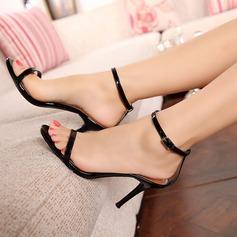 Vrouwen Patent Leather Stiletto Heel Sandalen Peep Toe met Vastrijgen schoenen (087113617)