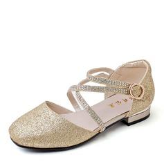 Ragazze Punta chiusa Ballet Flat Pelle microfibra Heel piatto Ballerine Scarpe Flower Girl con Fibbia Glitter scintillanti (207157185)