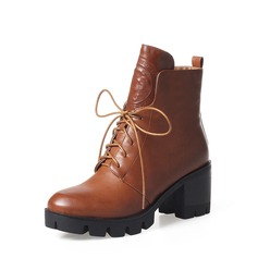 Frauen PU Stämmiger Absatz Absatzschuhe Stiefel Martin Stiefel mit Reißverschluss Zuschnüren Schuhe (088136943)