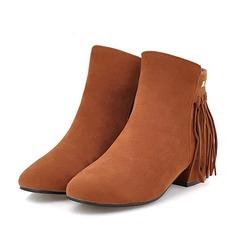 Frauen Wildleder Niederiger Absatz Stiefel mit Niete Reißverschluss Quaste Schuhe (088109390)