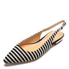 Donna Tessuto Senza tacco Sandalo Ballerine scarpe (086175377)