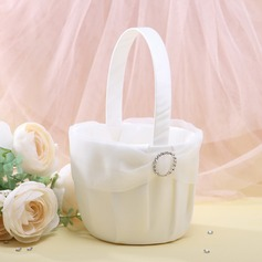 Elegant Flower Basket in Organza With Rhinestones (102018084)