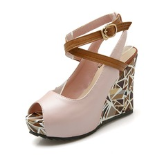 Donna Similpelle Zeppe Sandalo Zeppe Punta aperta scarpe (116094402)