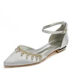 Frauen Seide wie Satin Flascher Absatz Geschlossene Zehe Flache Schuhe mit Quaste Kristall (047187618)