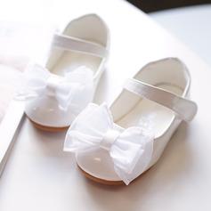 Ragazze Punta rotonda Punta chiusa finta pelle Heel piatto Ballerine Scarpe Flower Girl con Bowknot Velcro (207176661)