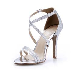 Frauen Funkelnde Glitzer Stöckel Absatz Sandalen Absatzschuhe Schuhe (087047298)