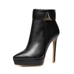 Frauen Echtleder Stöckel Absatz Stiefel mit Geraffte Schuhe (088106092)