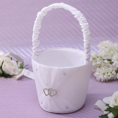 Elegant Flower Basket in Satin With Rhinestones (102037350)