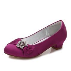 Mädchens Round Toe Geschlossene Zehe Mary Jane Seide wie Satin niedrige Ferse Blumenmädchen Schuhe mit Strass Geraffte (207202102)