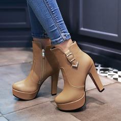 Frauen PU Stämmiger Absatz Absatzschuhe Plateauschuh Stiefel mit Schnalle Reißverschluss Schuhe (088137543)