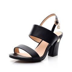 Aitoa nahkaa Chunky heel Sandaalit Kantiohihnakengät jossa Solki kengät (087062769)