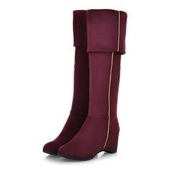 Frauen Wildleder Niederiger Absatz Stiefel über Knie mit Reißverschluss Schuhe (088097400)