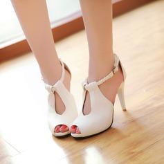Vrouwen Kunstleer Chunky Heel Sandalen Pumps Peep Toe schoenen (087117165)