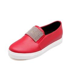 Leatherette Flat Heel Flats Closed Toe With Rhinestone shoes (086066673)