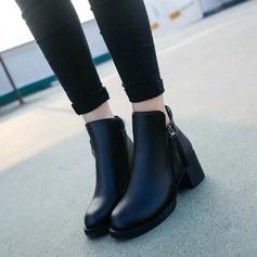 Frauen PU Stämmiger Absatz Stiefelette Schuhe (088133763)