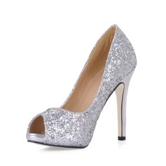 Women's Sparkling Glitter Stiletto Heel Peep Toe Platform Sandals With Sequin (047020488)
