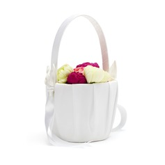 Calla Lily Flower Basket in Satin With Bow (102018058)