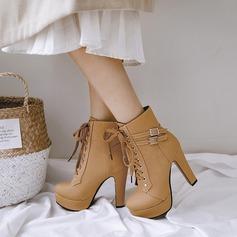 Frauen PU Stämmiger Absatz Absatzschuhe Plateauschuh Stiefel mit Schnalle Zuschnüren Schuhe (088137505)