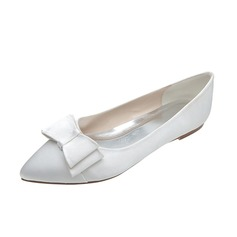 Vrouwen Satijn Flat Heel Closed Toe Flats met Strik (047053916)