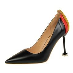 Frauen PU Stöckel Absatz Absatzschuhe Geschlossene Zehe mit Zweiteiliger Stoff Schuhe (085139790)