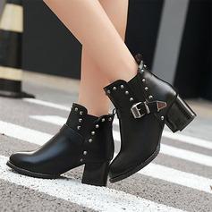 Frauen PU Stämmiger Absatz Absatzschuhe Stiefelette mit Niete Schnalle Reißverschluss Schuhe (088140258)