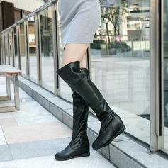 Frauen PU Keil Absatz Stiefel Stiefel über Knie mit Reißverschluss Schuhe (088137097)