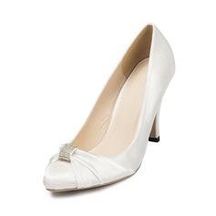 Women's Satin Stiletto Heel Closed Toe Pumps With Rhinestone (047047887)