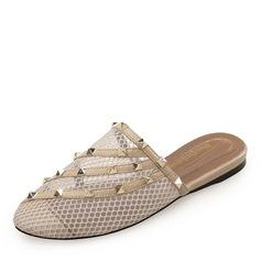 De mujer Cuero Tacón plano Cerrados Pantuflas con Rivet zapatos (086191464)