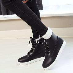 Frauen Kunstleder Flascher Absatz Flache Schuhe Stiefel Stiefelette mit Zuschnüren Schuhe (088139489)