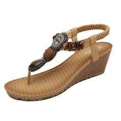 Frauen Kunstleder Keil Absatz Sandalen mit Perlstickerei Schuhe (087093228)